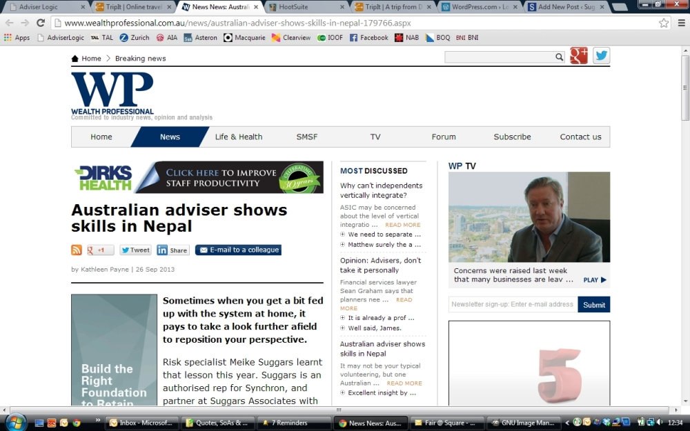 "Meike in the Media - ""Australian Adviser shows skills in Nepal"" Wealth Professional 26 Sept 2013"
